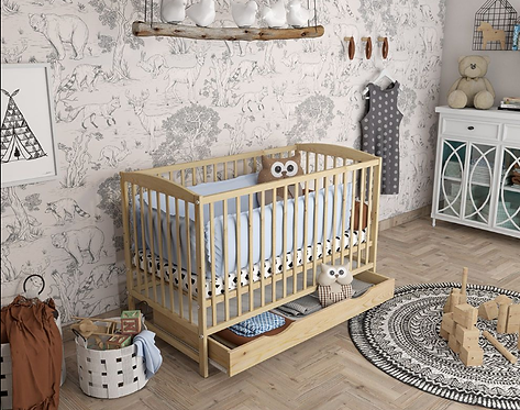Cot Bed/ Toddler Bed with drawer - NATURAL&CLASSIC