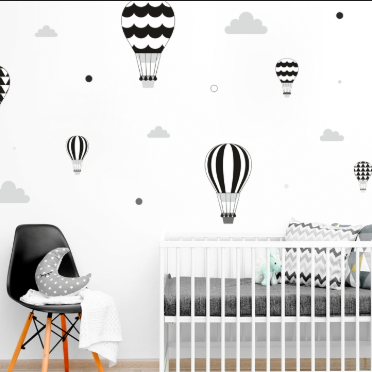 Decowall - wall stickers - black balloons/ stars