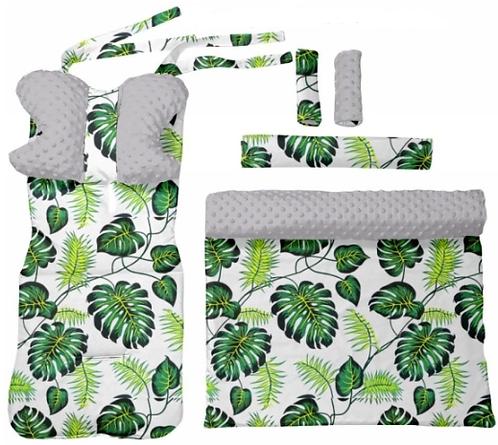 Gray minky & leaves 6 pcs linner set