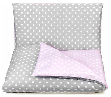 """PINK DOTS""Cot bedding set"