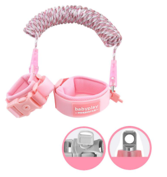 Anti Lost Wrist Link Safety Harness with lock for Kid - PINK