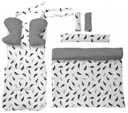 Gray minky & feathers -  6 pcs linner set