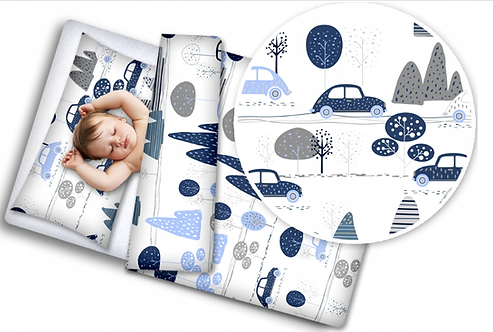 3 pcs Cot Bedding Set-  Cars and Mountains