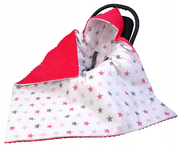 LARGE Hooded Winter Car Seat Blanket RED& STARS