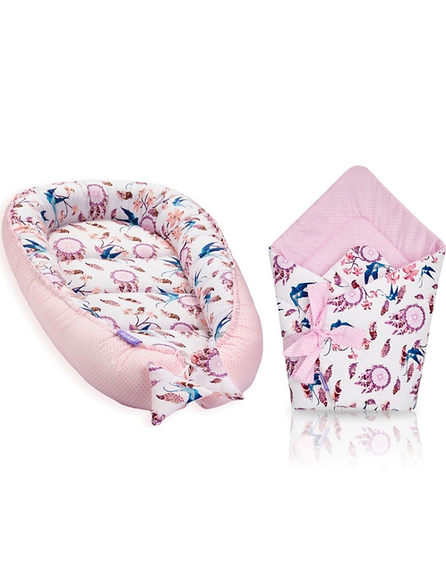 JUKKI NEST AND SWADDLE SET - pink feathers