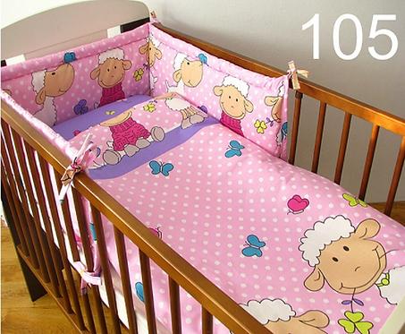 3 Pcs Cot Bedding Set- Sheep Pink Edition