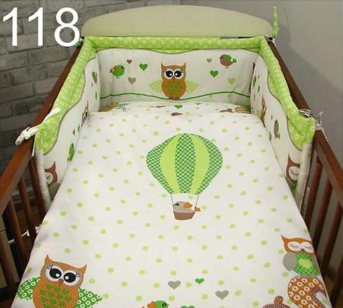 3 Pcs Cot Bedding Set-Owls Green Edition