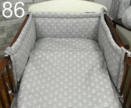 3 Pcs Cot Bedding Set- Grey&White Anchors