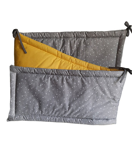 COT BUMPER PROTECTION -GREY STARS & YELLOW