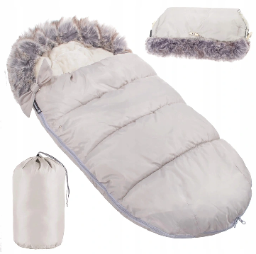 "Footmuff ""SPRINGOS""with handmuff and carry bag - LIGHT GRAY"