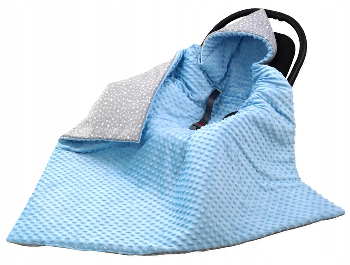 Large Hooded Winter Car Seat Blanket BLUE&TINY STARS