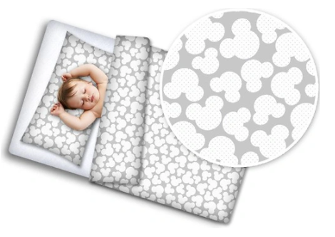 Cot Bedding Set- Gray Mickey Mouse