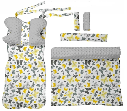 Gray minky & butterfly-  6 pcs linner set