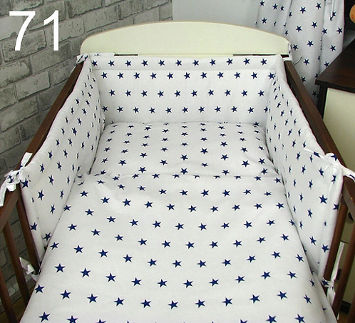 3 Pcs Cot Bedding Set-White&Navy Stars