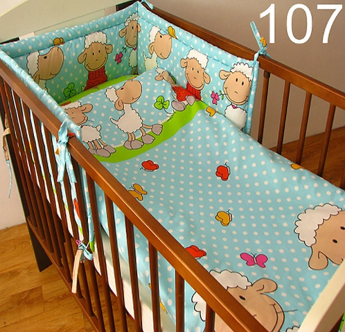 3 Pcs Cot Bedding Set- Sheep Blue Edition