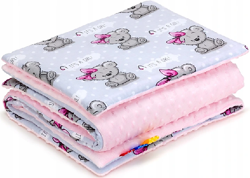 SNUGGLE MINKY BEDDING SET Sewn in filling – PINK& ITS A GIRL