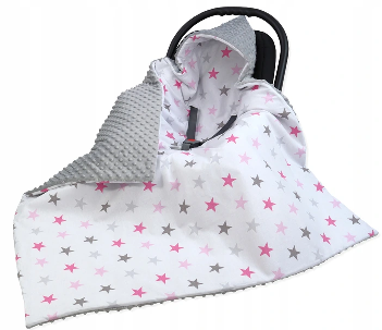Large Hooded Winter Car Seat Blanket LIGHT GRAY&PINK STARS
