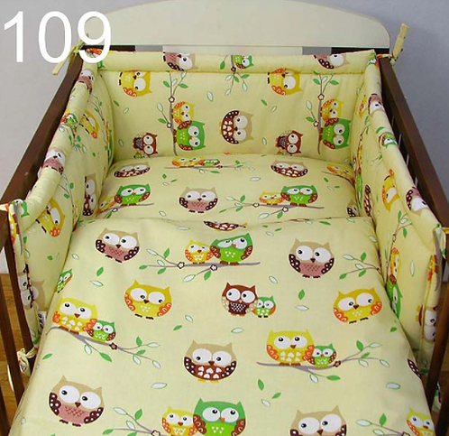 3 Pcs Cot Bedding Set- Owls Yellow Edition