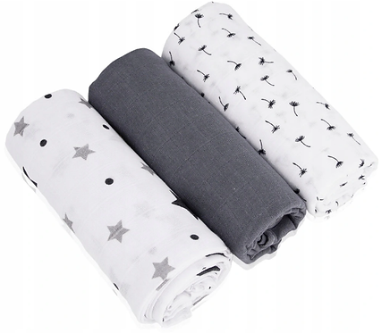 Muslin Cloths (3 pcs) - stars/ gray / dandelions