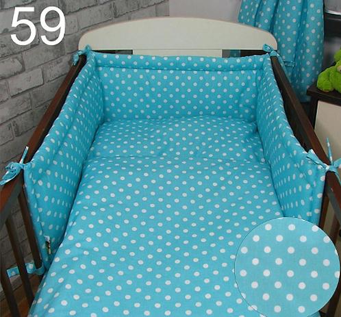 3 Pcs Cot Bedding Set- Blue& Dots