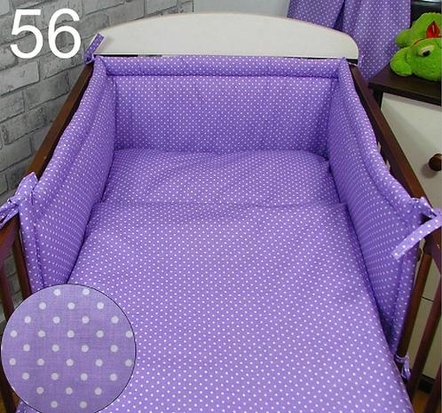 3 Pcs Cot Bedding Set- Violet&Dots