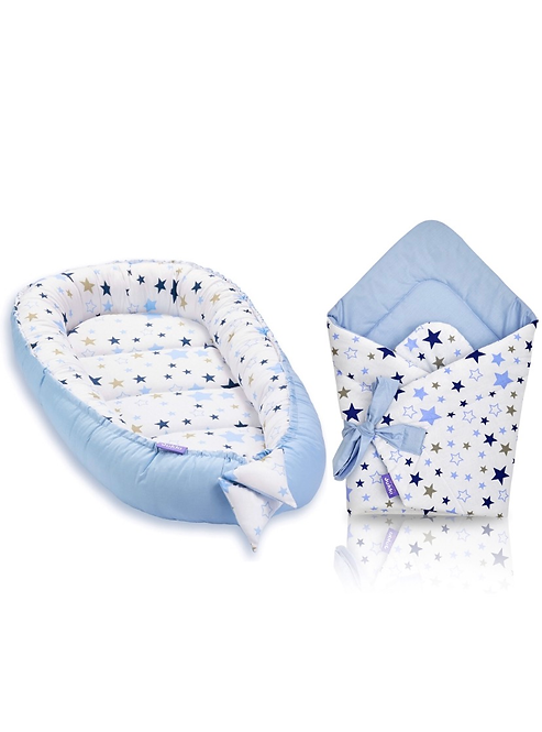 JUKKI NEST AND SWADDLE SET - blue stars