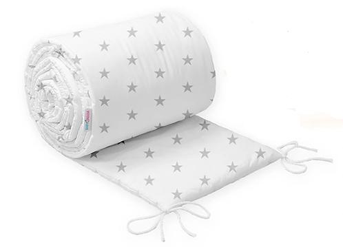 COT BUMPER PROTECTION - WHITE&GREY STARS