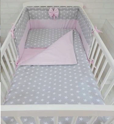 3 pcs Cot Bedding Set PINK&STARS