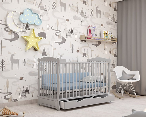 Cot Bed/ Toddler Bed with drawer - GRAY HEART