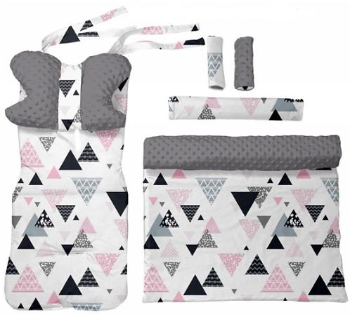 Gray minky & triangles  6 pcs linner set