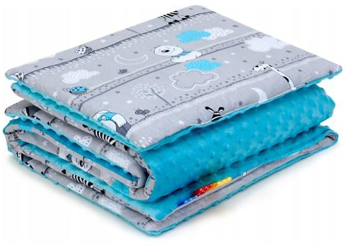 SNUGGLE MINKY BEDDING SET Sewn in filling – ZEBRA&BLUE MINKY