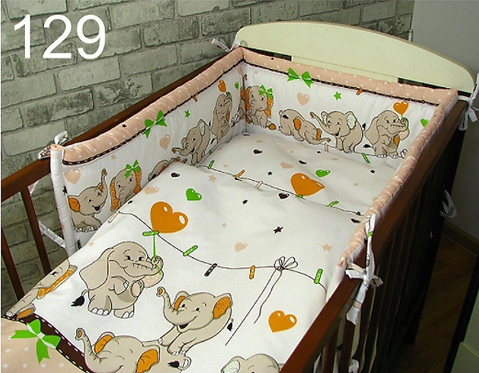 3 Pcs Cot Bedding Set-Happy Elephants