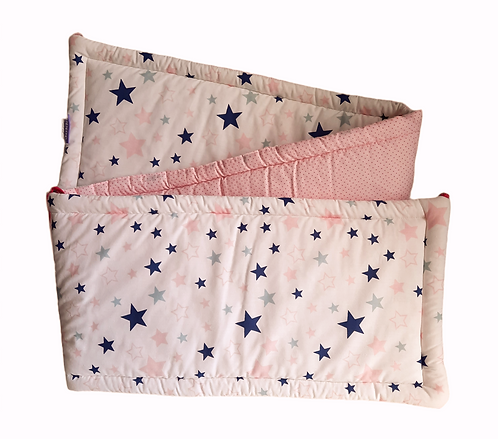 COT BUMPER PROTECTION -PINK&NAVY STARS