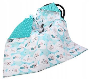 Large Hooded Winter Car Seat Blanket HEART&TEDDY