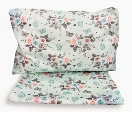""" MINT ROSES"" - Cot bedding set"
