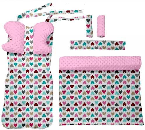 Pink minky & hearts 6 pcs linner set