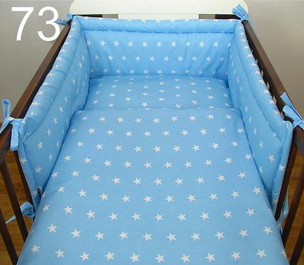 3 Pcs Cot Bedding Set- Blue&White Stars