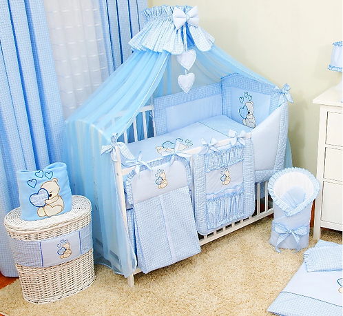 17 Pcs Layette - SET WITH COT AND MATTRESS- BLUE