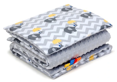 SNUGGLE MINKY BEDDING SET Sewn in filling – ELEPHANTS