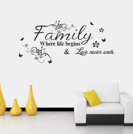 """Decowall """" Family where life begins& love never ends"""" wall sticker"""
