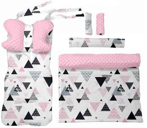 Pink minky & triangles 6 pcs linner set