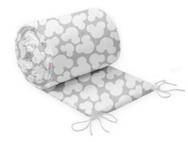 COT BUMPER PROTECTION - GREY MICKEY MOUSE