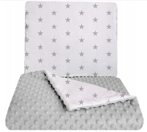 SNUGGLE MINKY BEDDING SET Sewn in filling – GRAY & STARS