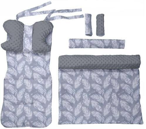 Gray minky & white feathers 6 pcs linner set