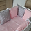 Thumbnail: PREMIUM PILLOW BUMPER PINK MINKY-GRAY WITH STARS