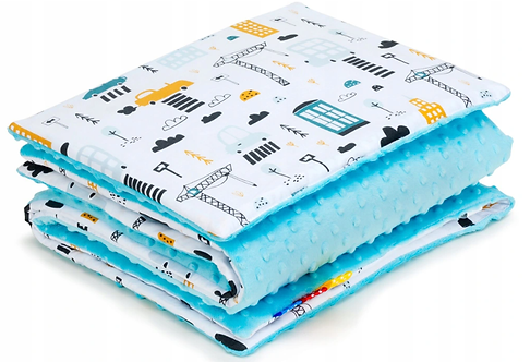 SNUGGLE MINKY BEDDING SET Sewn in filling – BLUE& CARS