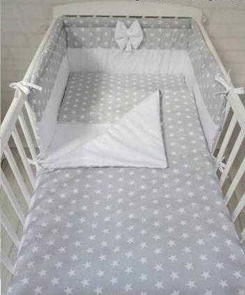 3 pcs Cot Bedding Set WHITE&STARS