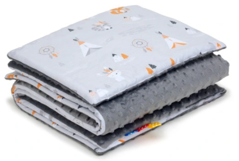 SNUGGLE MINKY BEDDING SET Sewn in filling – GREY INDIAN&GREY