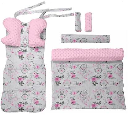 Pink minky & dreamcatcher  - 6 pcs linner set