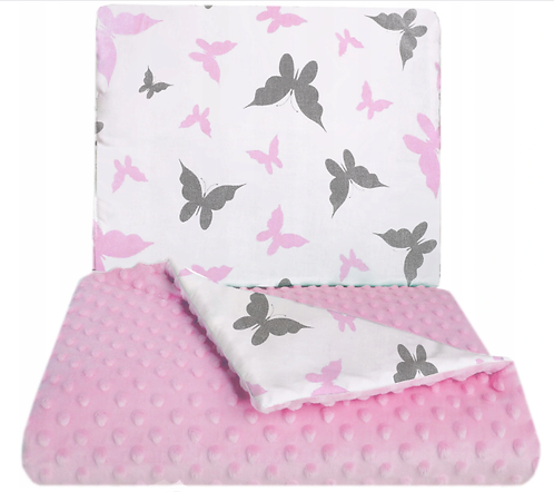 SNUGGLE MINKY BEDDING SET Sewn in filling – PINK&BUTTERFLY